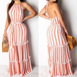 🆕 ➳ Sweet Like Candy Tie Tassel Maxi Dress
